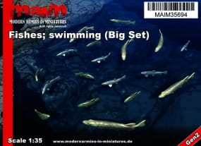 Fishes; swimming (18pcs) - Pike / Trout / Bass / 1:35