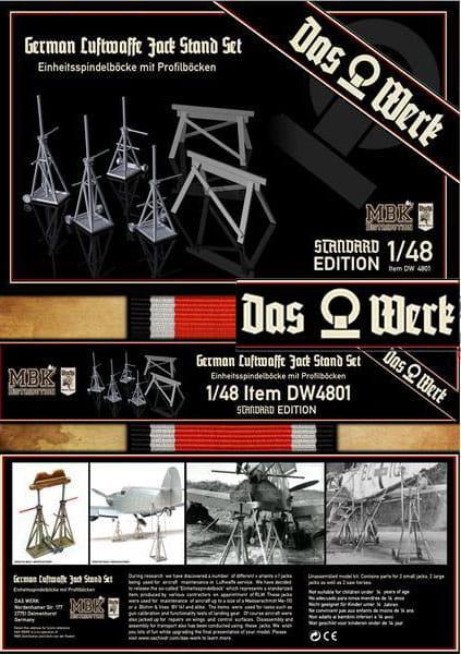 Das Werk No. DW-48001 - Luftwaffe Jack Stand Set - Einheitsspindelböcke / 1:48 | Der Sockelshop - Modelling Shop