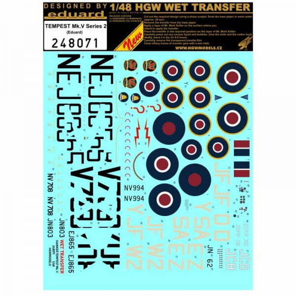 HGW Decals Wet Transfers: Hawker Tempest Mk.V Series 2 - Markings / 1:48