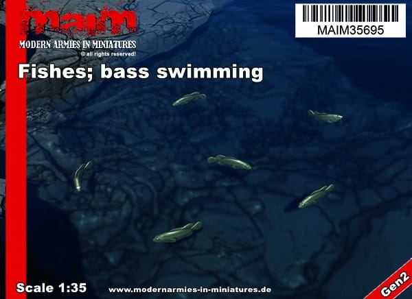 Fishes; swimming (6pcs) - Bass - Barsche / 1:35