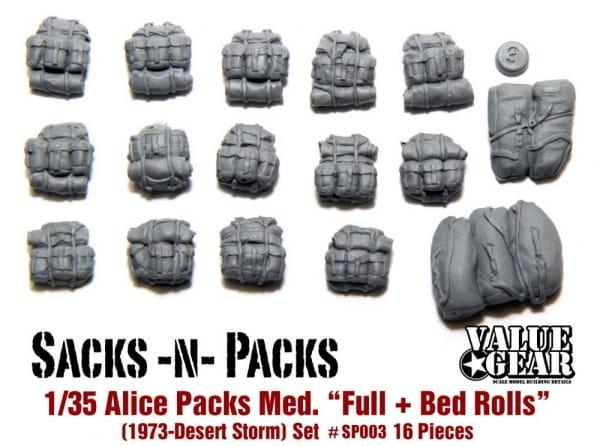 USA Alice Packs 1973-Desert Storm (Alice Packs Medium - w/Blankies & Bedrolls) / 1:35