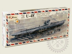 Flyhawk U-boat Type VII B DKM U-48 + Dock Scene / 1:700