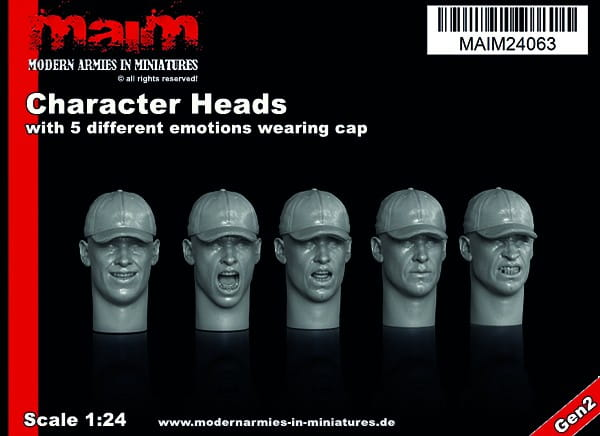 MAiM / Front46 Character Heads set with 5 different emotions wearing Cap (5 Heads) / 1:24