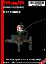 Man fishing + small landing stage / 1:35