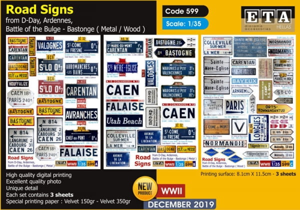 Road Signs: D-Day, Arennes, Battles of the Bulge - Bastogne / 1:35