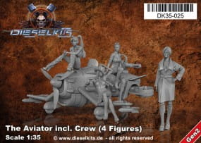 The Aviator inkl. Crew (4 Figures) - Steam Punk Vehicle / 1:35
