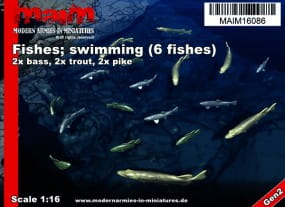 Fishes; swimming (6pcs) - Pike / Trout / Bass / 1:16