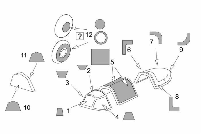 Brengun Yak-1b Vacu Canopy masks (Brengun kit) / 1:72