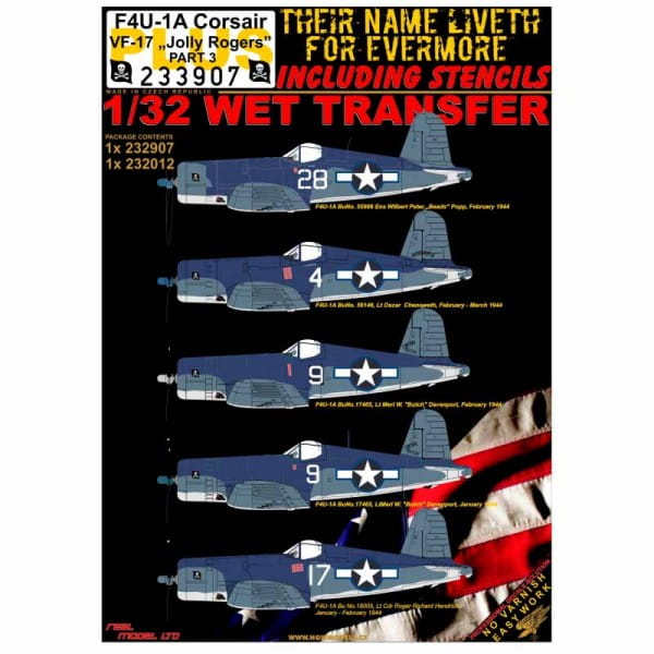 HGW Decals WET TRANSFER: F4U-1A Corsair VF-17
