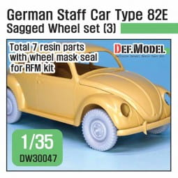WWII German staff car Type 82E Wide Wheel set (3) - for RyeField / 1:35