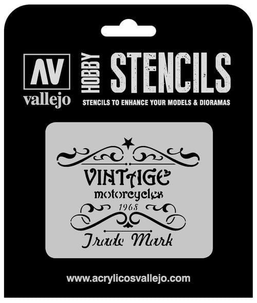 Vallejo Hobby Stencils: Vintage Motorcycles Sign Markings - 1:35