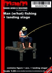 Man (with hat) fishing + small landing stage / 1:35
