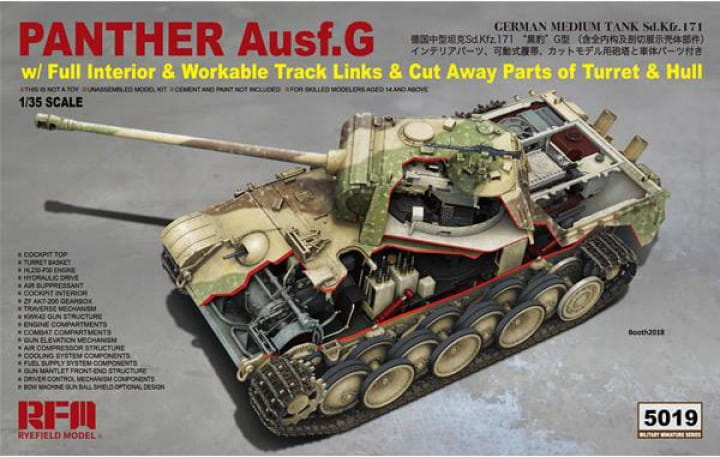 Rye Field Model Panther Ausf. G; cut away - Full Interior / 1:35